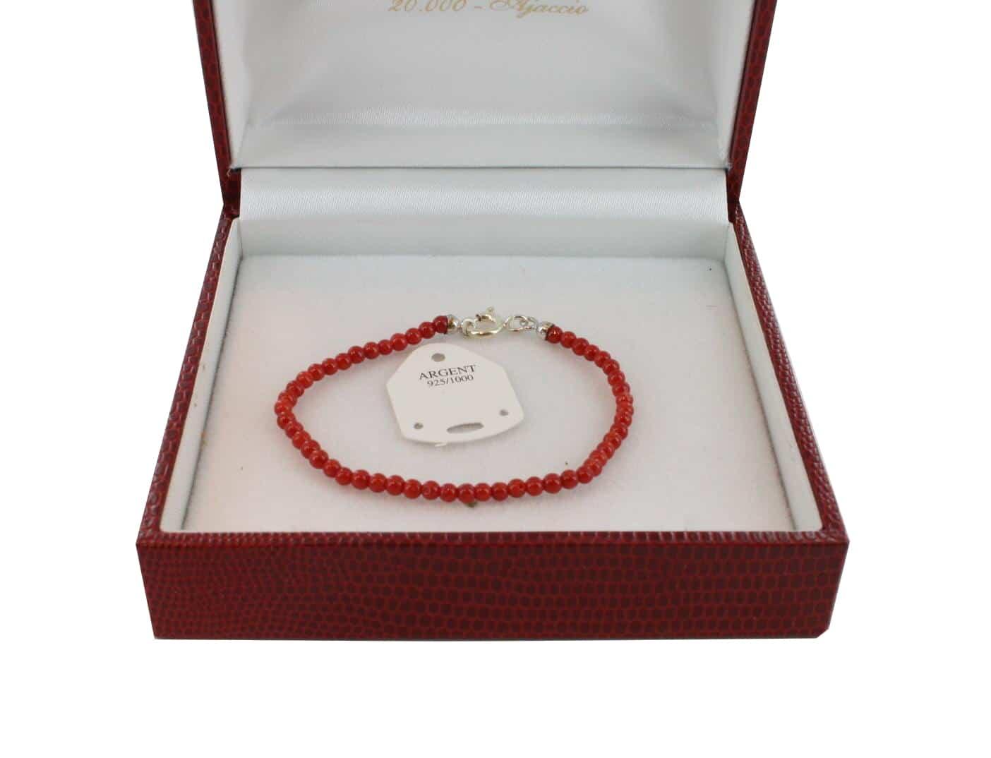 Bracelet en Corail véritable de méditerranée et argent 725 BR-CO-AR-1125