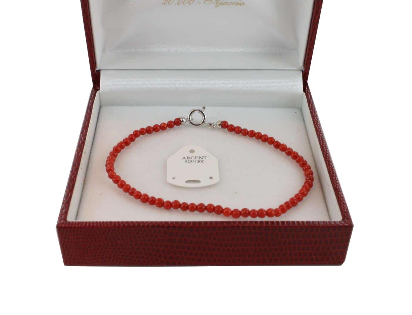 Bracelet en Corail véritable de méditerranée et argent 725 BR-CO-AR-1126