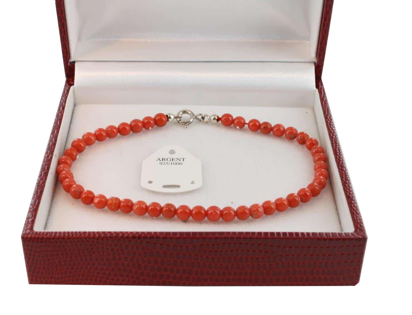 Bracelet en Corail véritable de méditerranée et argent 725 BR-CO-AR-1129