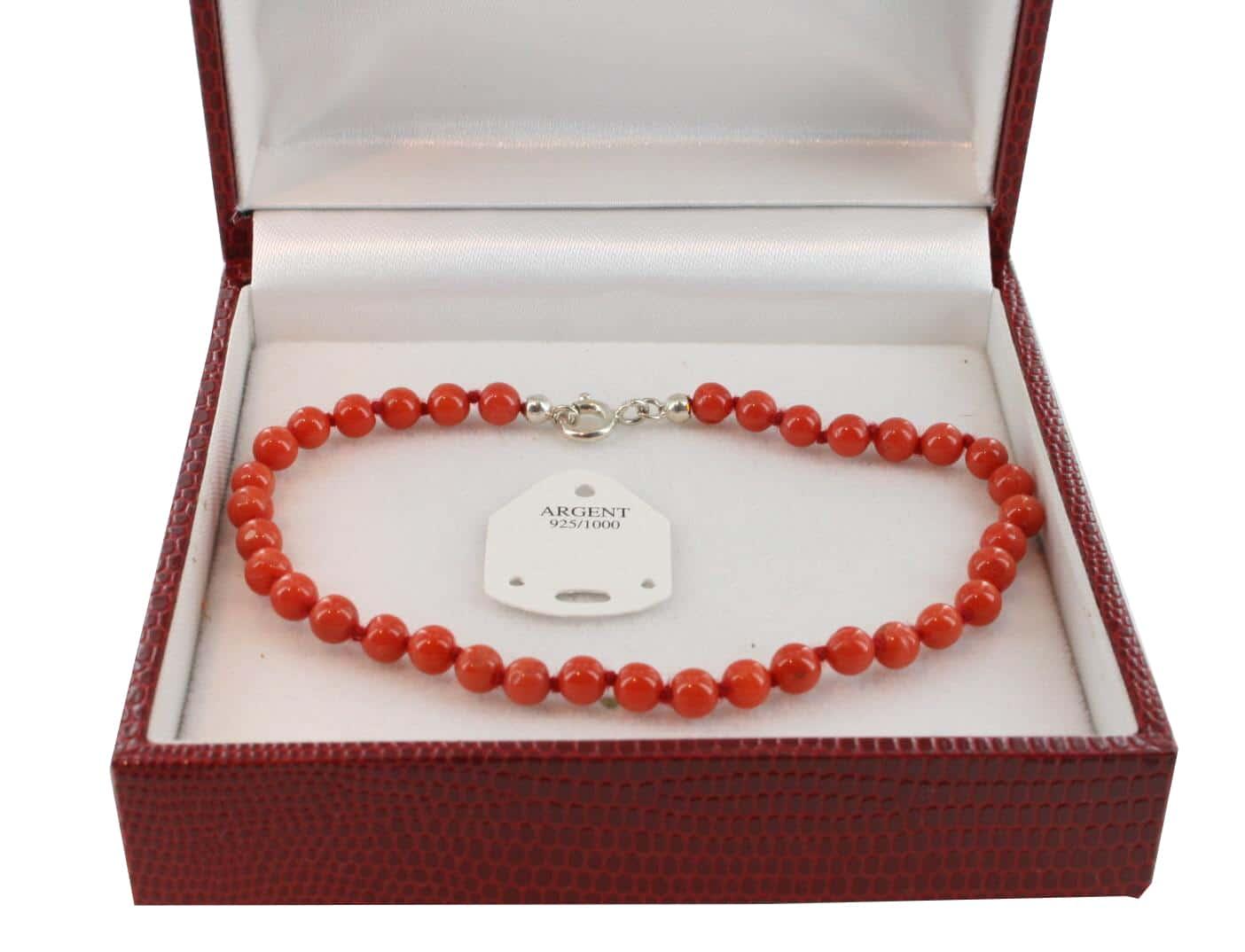 Bracelet en Corail véritable de méditerranée et argent 725 BR-CO-AR-1131
