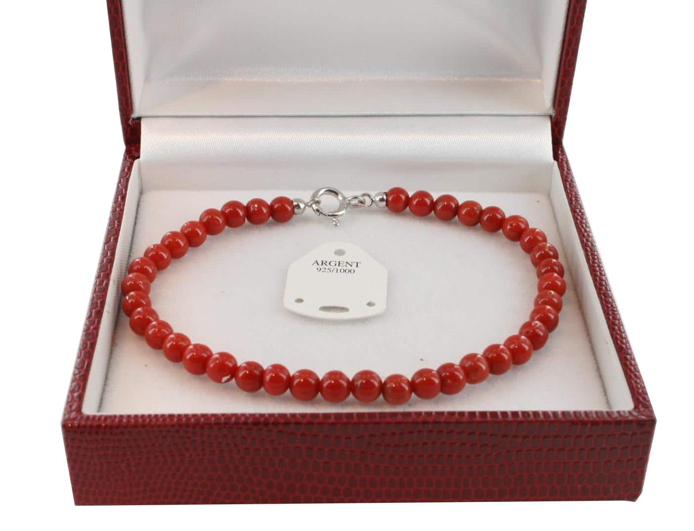 Bracelet en Corail véritable de méditerranée et argent 725 BR-CO-AR-1133
