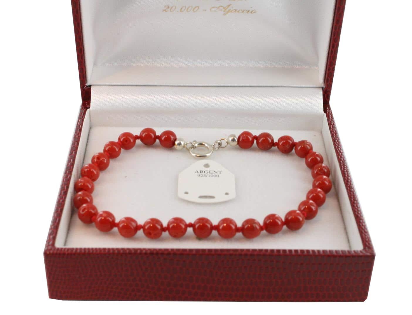 Bracelet en Corail véritable de méditerranée et argent 725 BR-CO-AR-1135