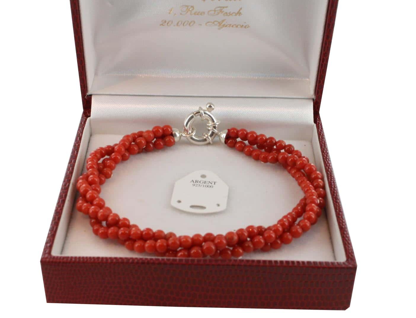 Bracelet en Corail véritable de méditerranée et argent 725 BR-CO-AR-1141