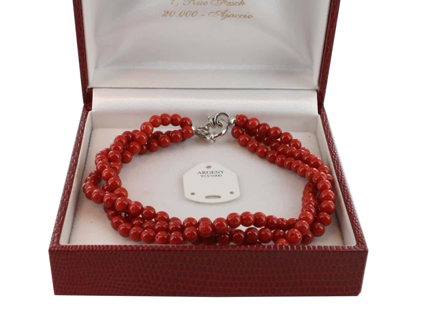 Bracelet en Corail véritable de méditerranée et argent 725 BR-CO-AR-1142
