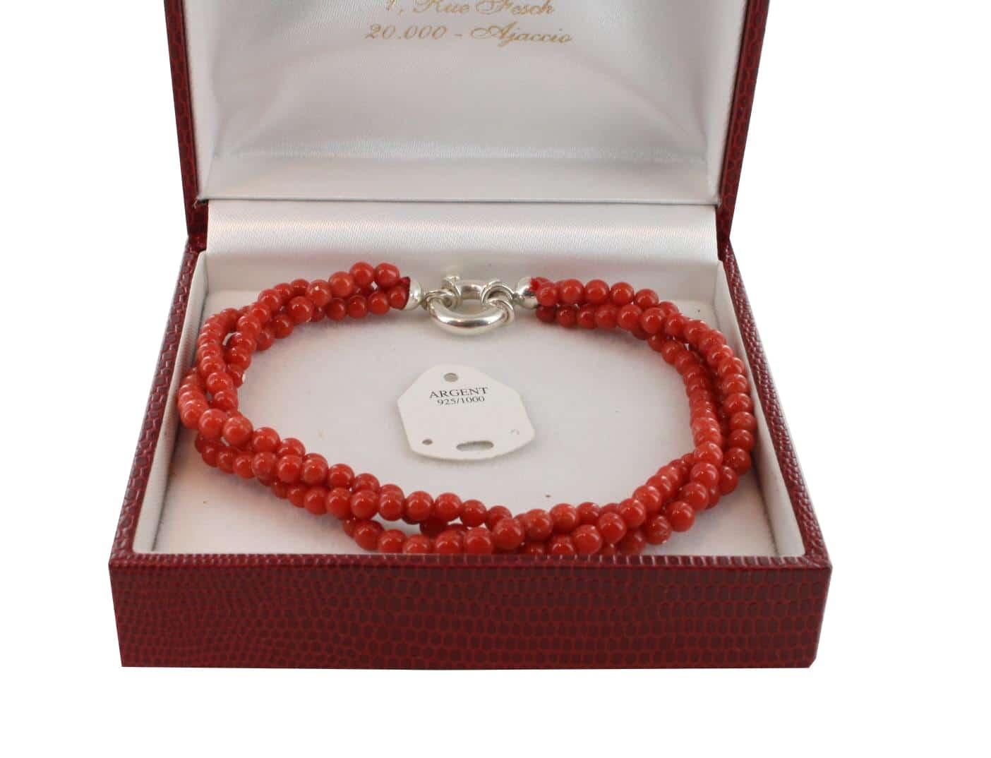 Bracelet en Corail véritable de méditerranée et argent 725 BR-CO-AR-1143