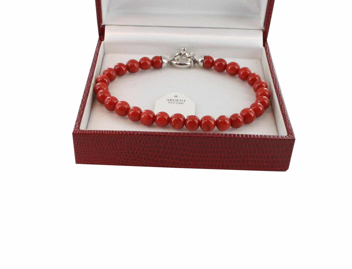 Bracelet en Corail véritable de méditerranée et argent 725 BR-CO-AR-1150