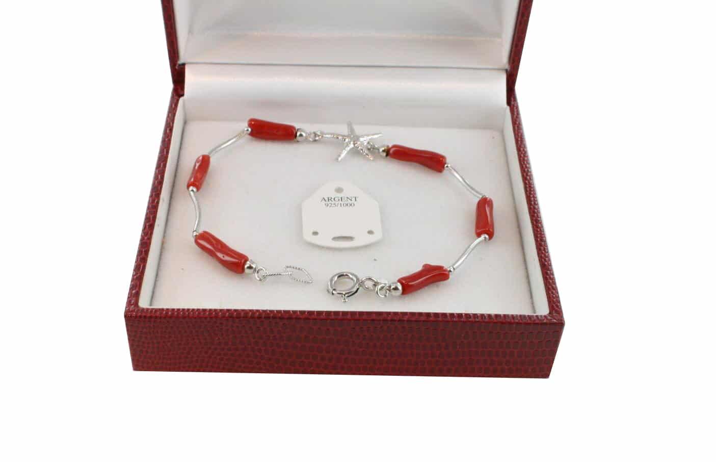 Bracelet en Corail véritable de méditerranée et argent 725 BR-CO-AR-1154