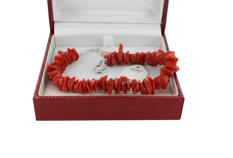 Bracelet en Corail véritable de méditerranée et argent 725 BR-CO-AR-1168