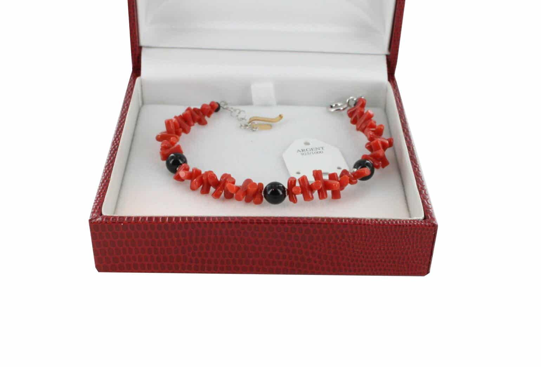Bracelet en Corail véritable de méditerranée et argent 725 BR-CO-AR-1181