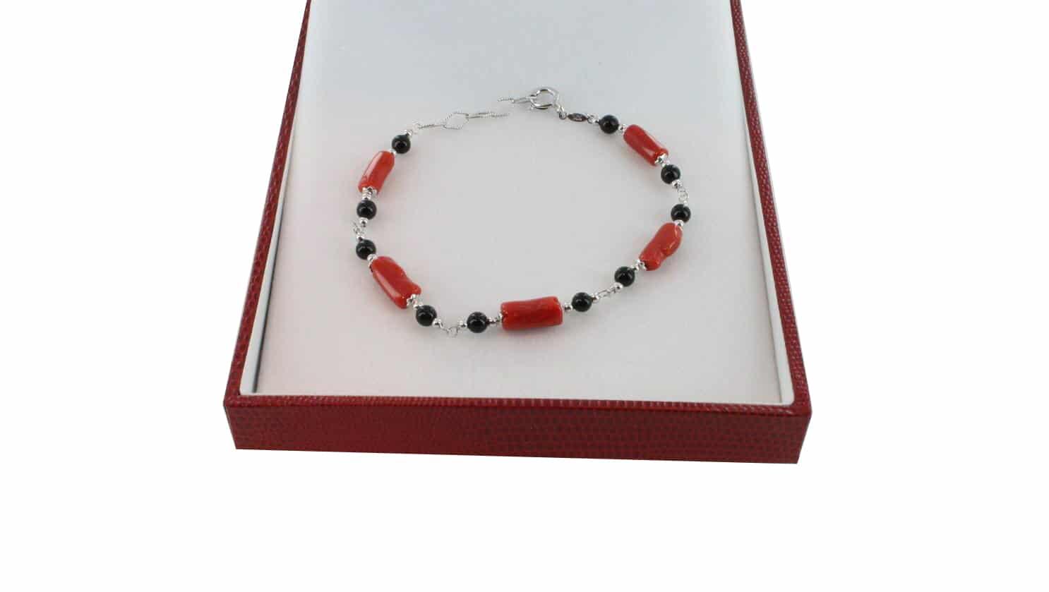 Bracelet homme en Corail véritable de méditerranée et argent 725 BR-CO-AR-H-1504