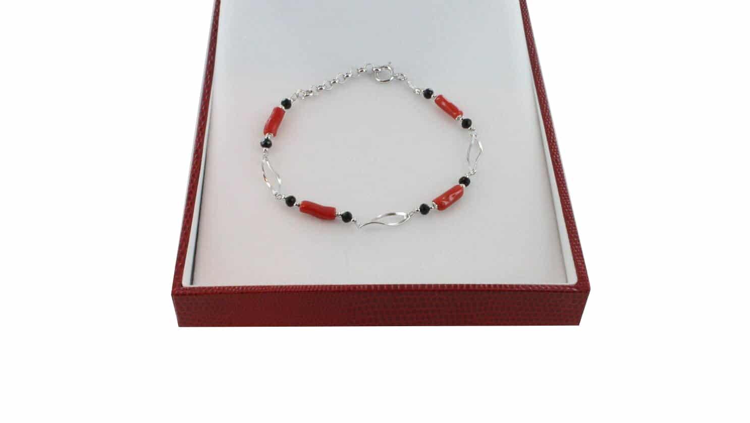 Bracelet homme en Corail véritable de méditerranée et argent 725 BR-CO-AR-H-1506