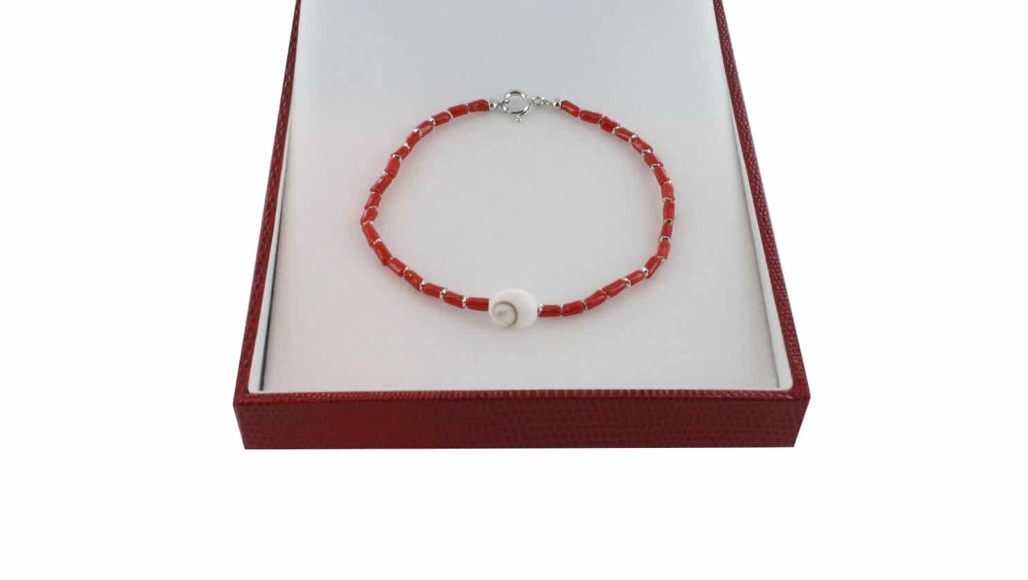 Bracelet homme en Corail véritable de méditerranée et argent 725 BR-CO-AR-H-1507