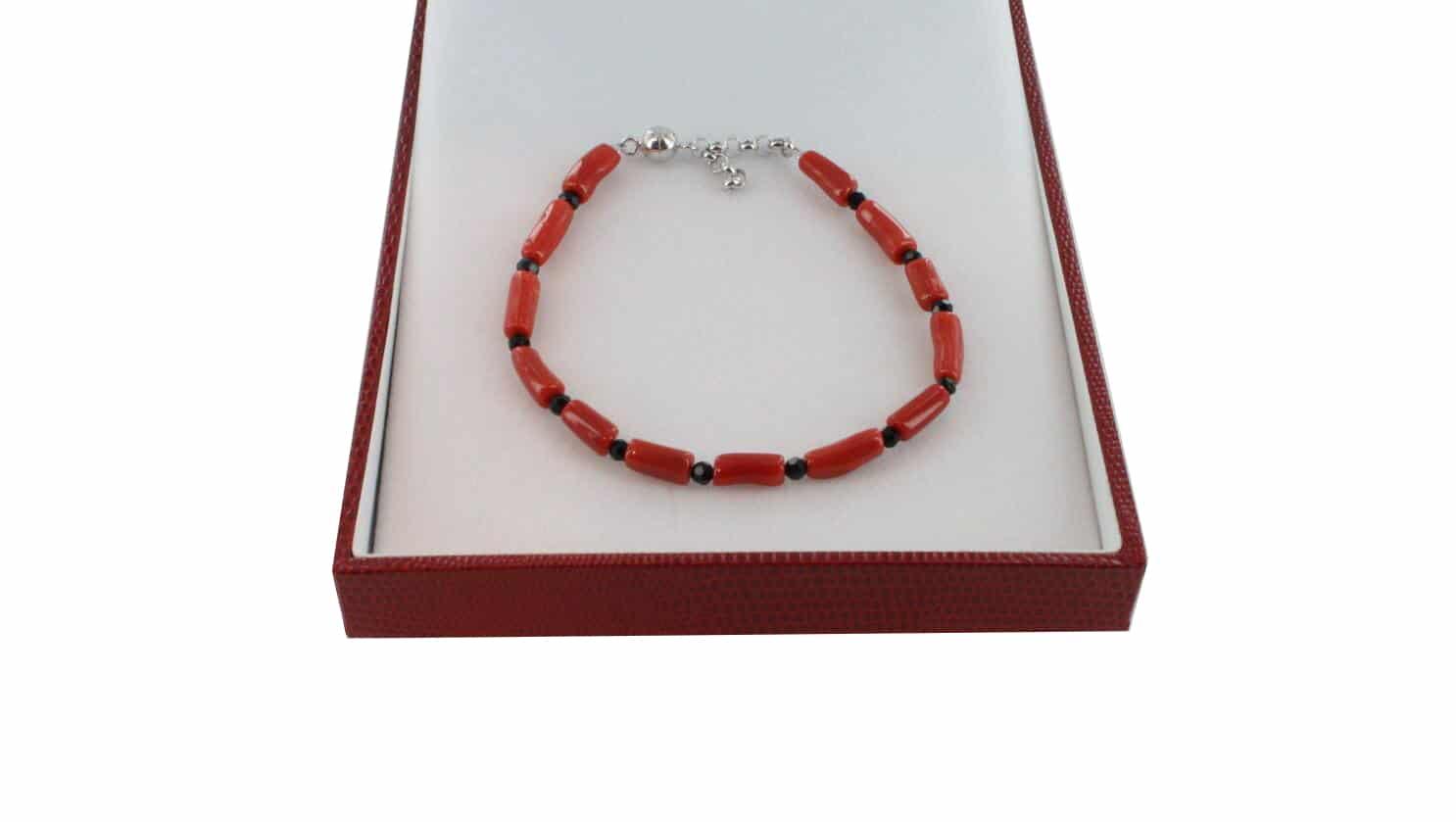 Bracelet homme en Corail véritable de méditerranée et argent 725 BR-CO-AR-H-1508