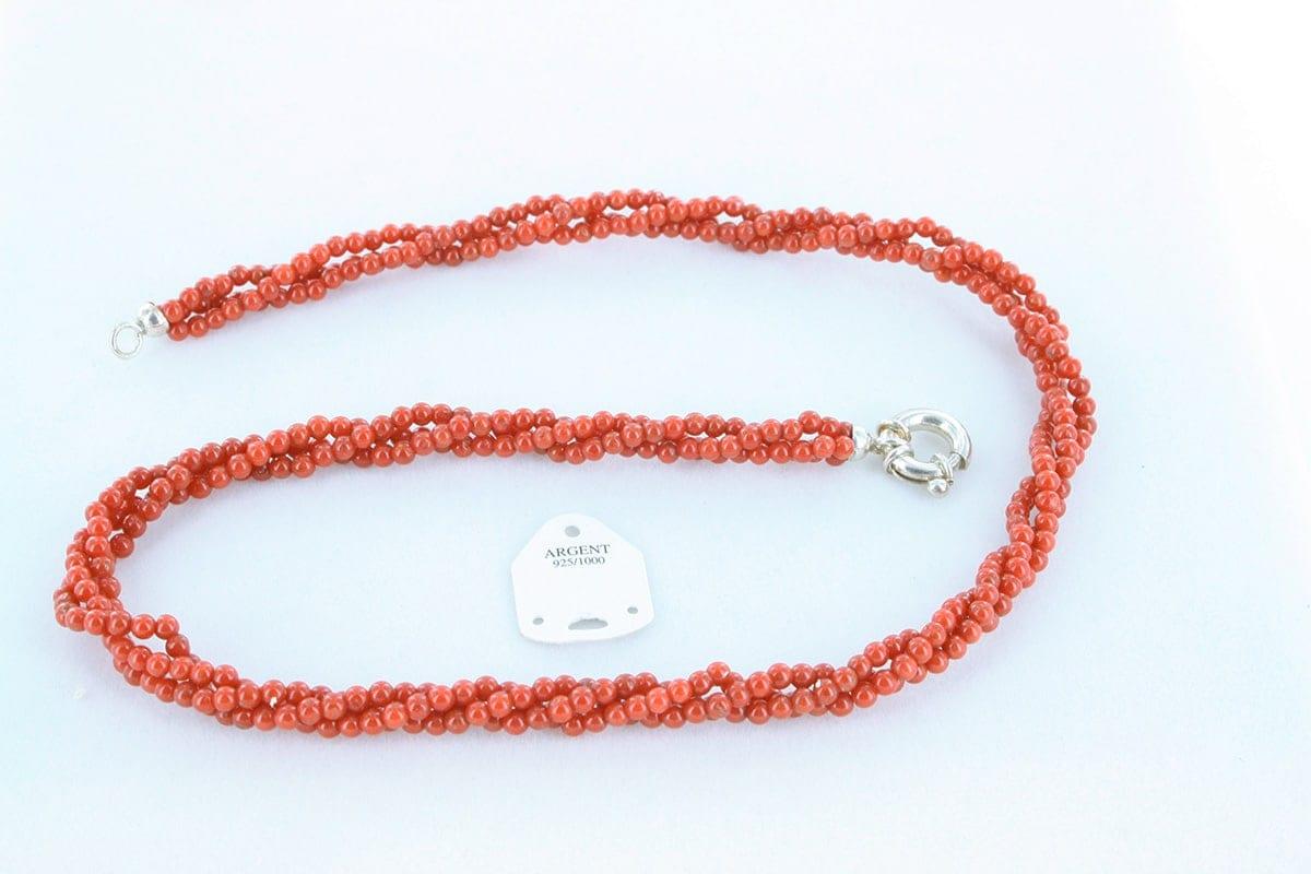 Collier en corail rouge véritable de Méditerranée 034