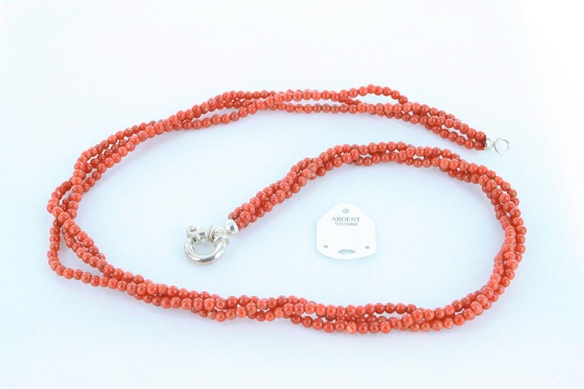 Collier en corail rouge véritable de Méditerranée 035