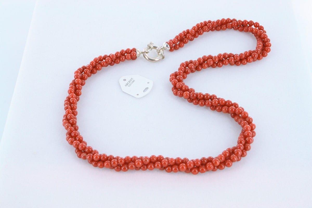 Collier en corail rouge véritable de Méditerranée 038