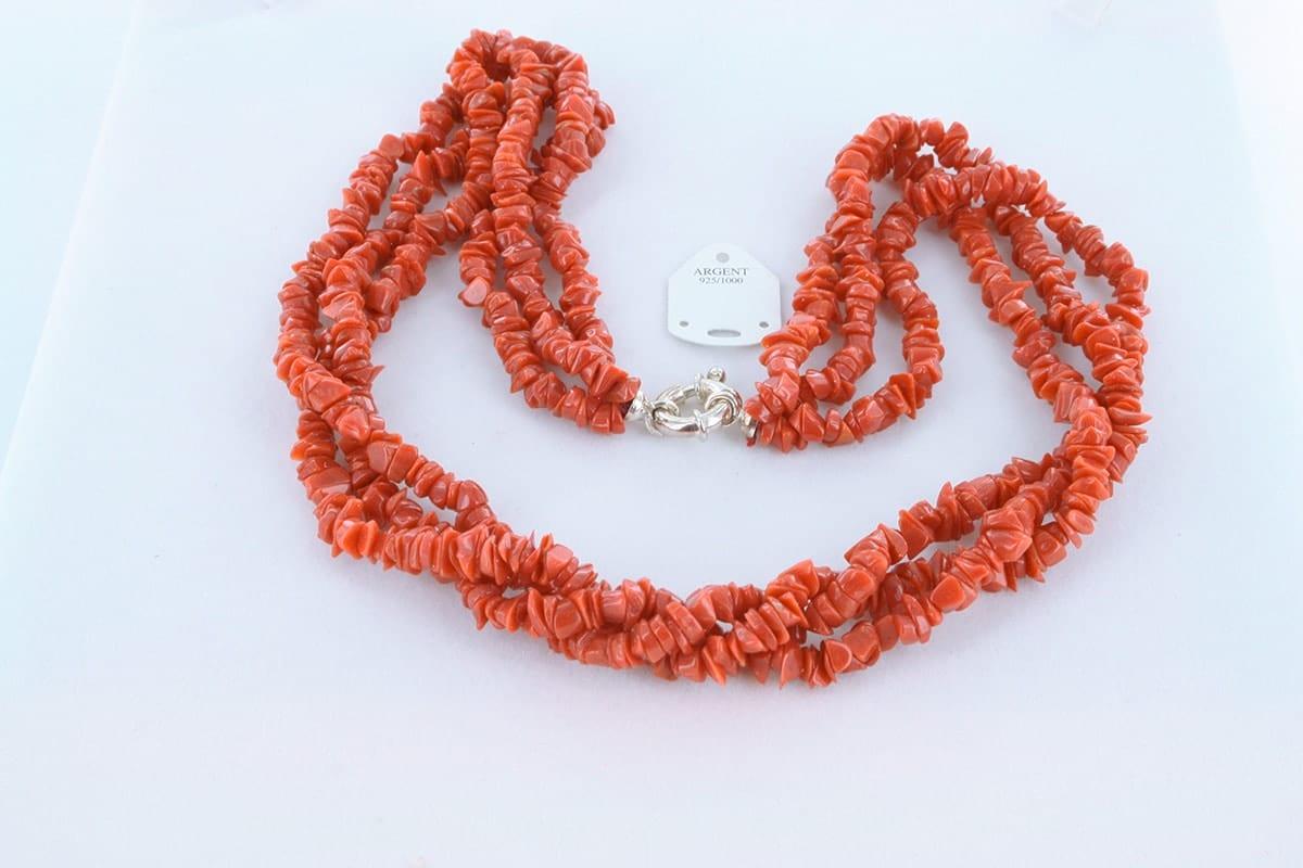 Collier en corail rouge véritable de Méditerranée 048