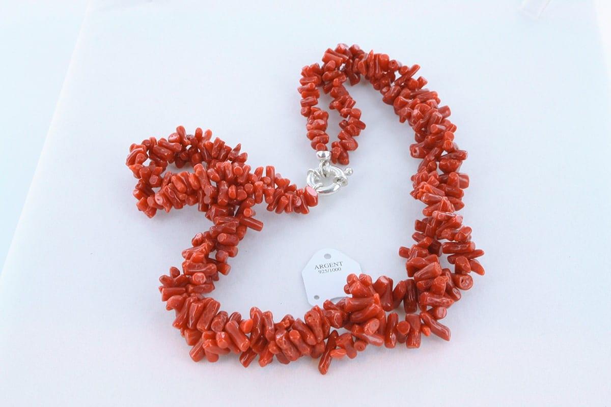 Collier en corail rouge véritable de Méditerranée 055