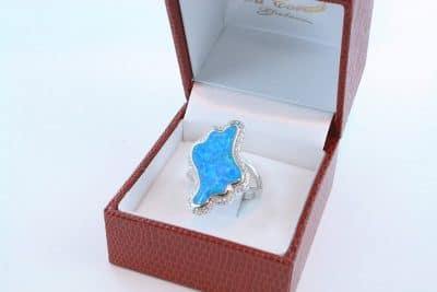 bague opale bleu et argent 925 par 1000 005
