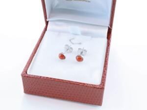 Boucles d'Oreilles en corail rouge et argent 925 par 1000 BO-CO-AR-001