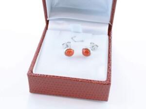 Boucles d'Oreilles en corail rouge et argent 925 par 1000 BO-CO-AR-003