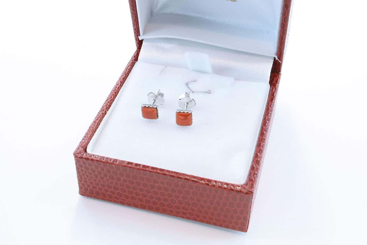 Boucles d'Oreilles en corail rouge et argent 925 par 1000 BO-CO-AR-004