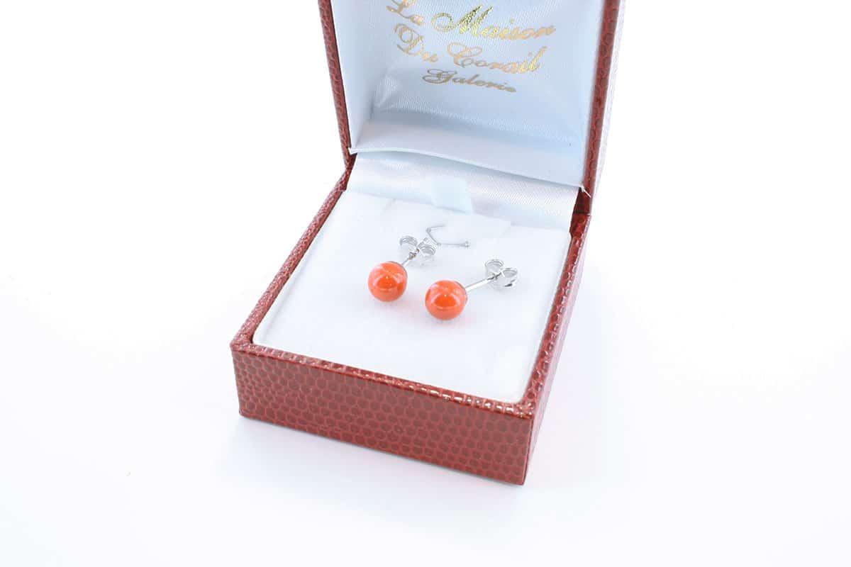 Boucles d'Oreilles en corail rouge et argent 925 par 1000 BO-CO-AR-006