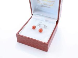 Boucles d'Oreilles en corail rouge et argent 925 par 1000 BO-CO-AR-007