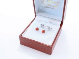 Boucles d'Oreilles en corail rouge et argent 925 par 1000 BO-CO-AR-009