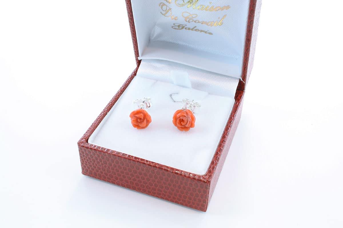 Boucles d'Oreilles en corail rouge et argent 925 par 1000 BO-CO-AR-013