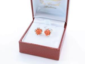 Boucles d'Oreilles en corail rouge et argent 925 par 1000 BO-CO-AR-015