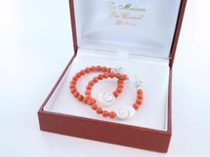 Boucles d'Oreilles en corail rouge et argent 925 par 1000 BO-CO-AR-018