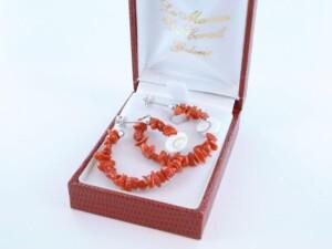 Boucles d'Oreilles en corail rouge et argent 925 par 1000 BO-CO-AR-019