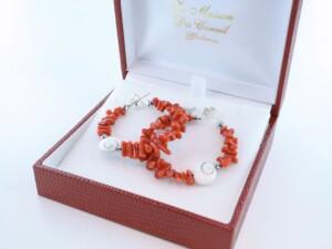 Boucles d'Oreilles en corail rouge et argent 925 par 1000 BO-CO-AR-020