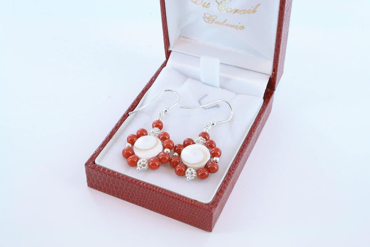 Boucles d'Oreilles en corail rouge et argent 925 par 1000 BO-CO-AR-021