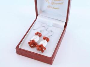 Boucles d'Oreilles en corail rouge et argent 925 par 1000 BO-CO-AR-023