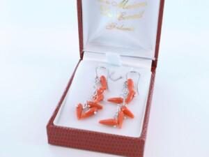 Boucles d'Oreilles en corail rouge et argent 925 par 1000 BO-CO-AR-024