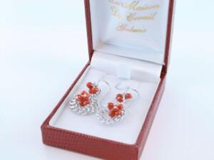 Boucles d'Oreilles en corail rouge et argent 925 par 1000 BO-CO-AR-026