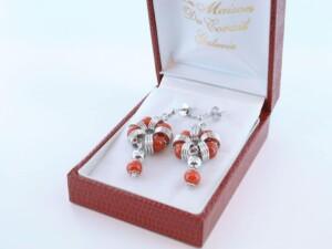 Boucles d'Oreilles en corail rouge et argent 925 par 1000 BO-CO-AR-028