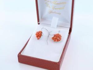 Boucles d'Oreilles en corail rouge et argent 925 par 1000 BO-CO-AR-030