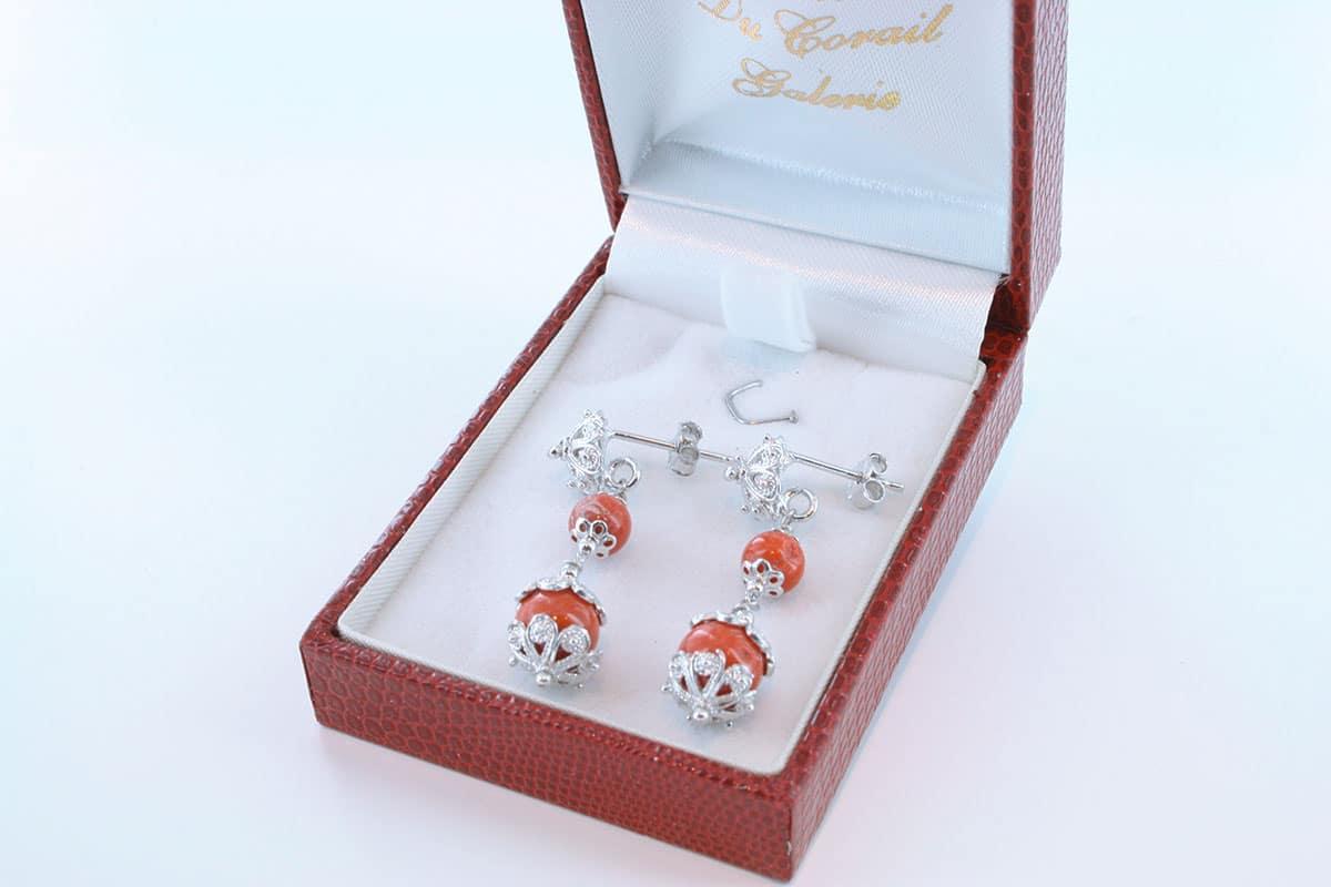 Boucles d'Oreilles en corail rouge et argent 925 par 1000 BO-CO-AR-032