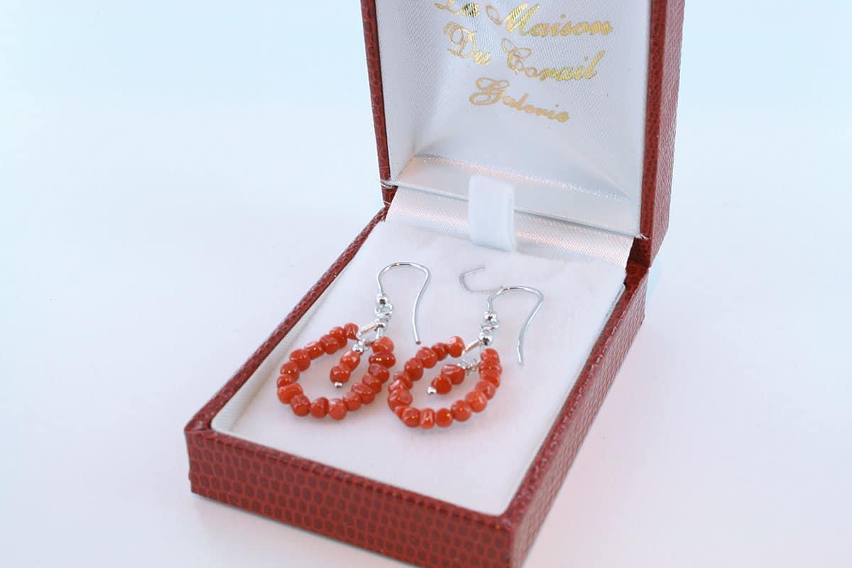 Boucles d'Oreilles en corail rouge et argent 925 par 1000 BO-CO-AR-034