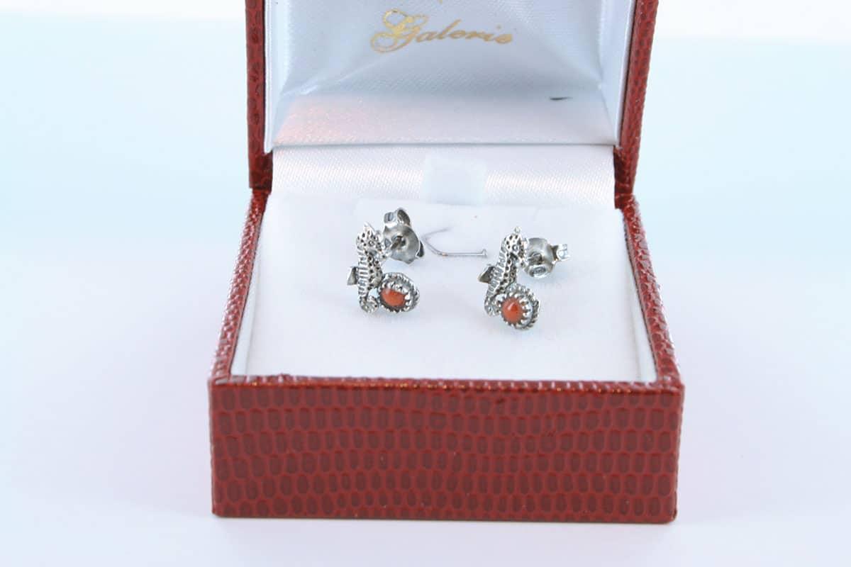 Boucles d'Oreilles en corail rouge et argent 925 par 1000 BO-CO-AR-036