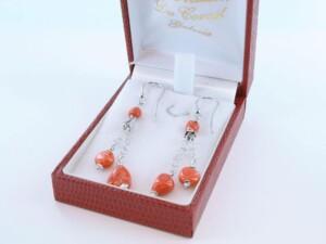 Boucles d'Oreilles en corail rouge et argent 925 par 1000 BO-CO-AR-038