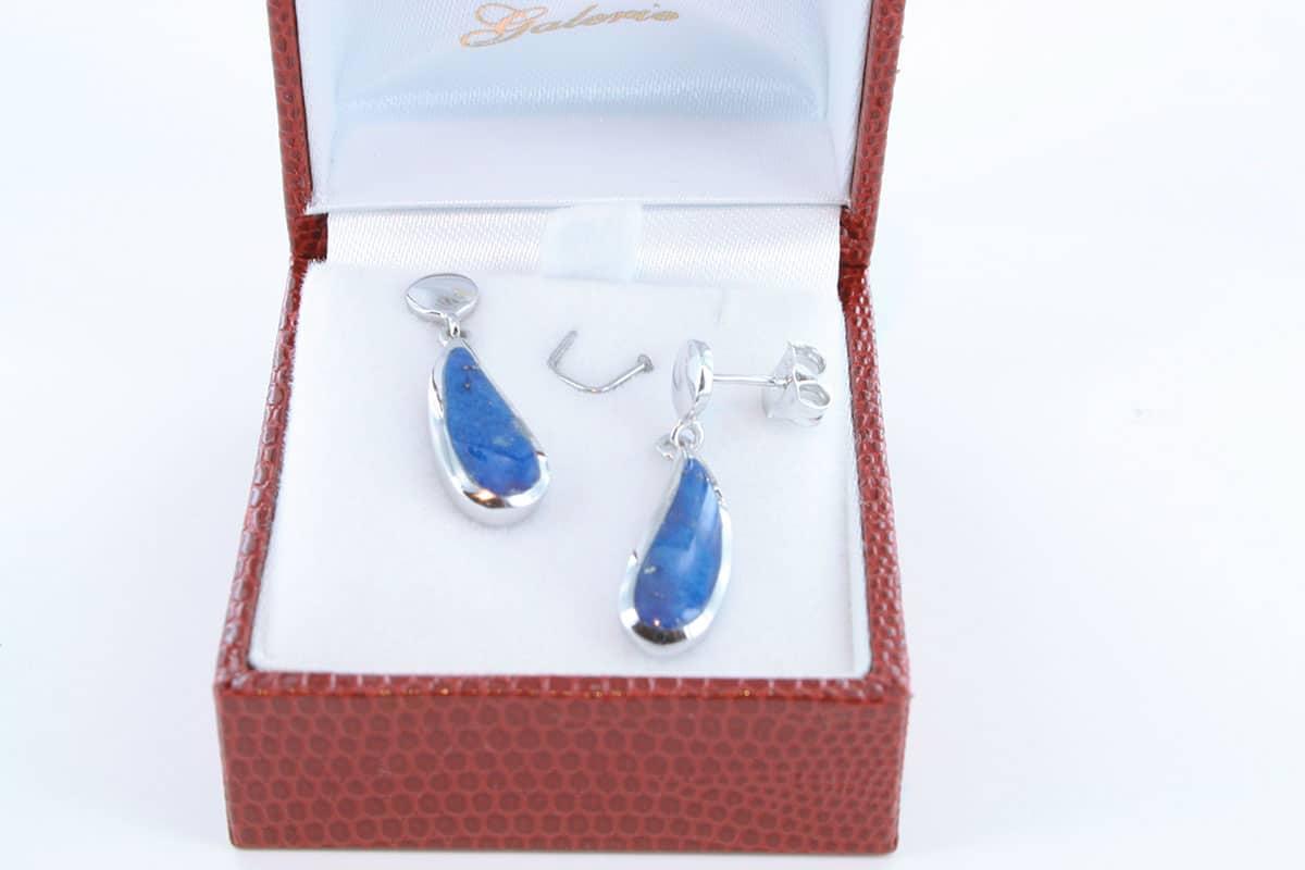 boucles d oreilles en lapis lazuli et argent 925 par 1000 BO-LA-LA-AR-006