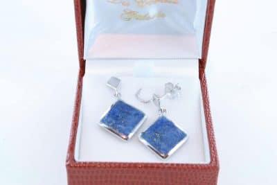 boucles d oreilles en lapis lazuli et argent 925 par 1000 BO-LA-LA-AR-015