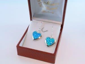 boucles d oreilles en opale bleu et argent 925 par 1000 BO-OP-BL-001