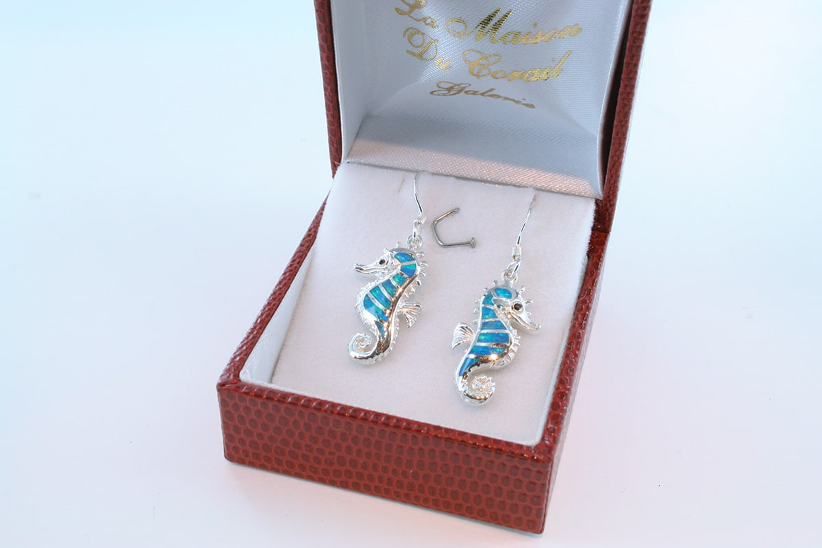 boucles d oreilles en opale bleu et argent 925 par 1000 BO-OP-BL-002
