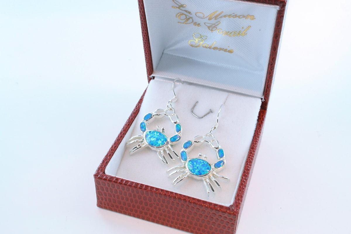boucles d oreilles en opale bleu et argent 925 par 1000 BO-OP-BL-004
