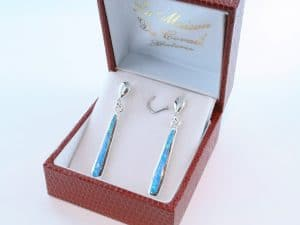 boucles d oreilles en opale bleu et argent 925 par 1000 BO-OP-BL-006